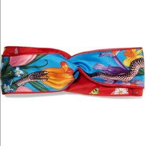 NWT Gucci Floral Snake Silk-Twill Headband